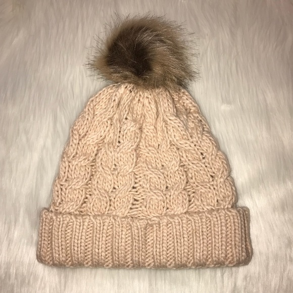 dad134ad96a bp Accessories - BP Cream Knit Hat With Faux Fur Pom Pom